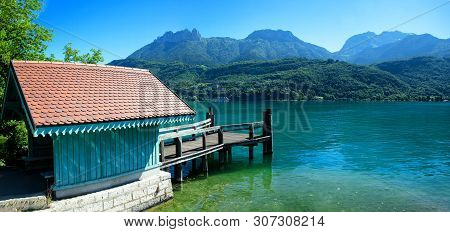 Waiting House For Tourists To Embark Ships To Duingt On Annecy Lake, A  French Alps