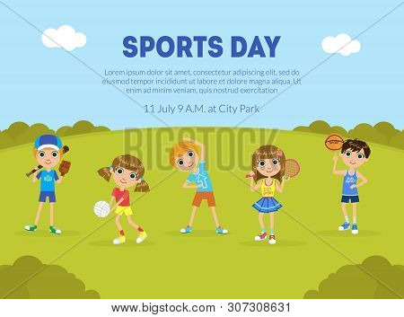 Sports Day Banner Template, Sport Activity Outdoors, Children Doing Sports On Nature, Flyer, Poster,
