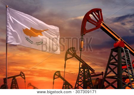 Cyprus Oil Industry Concept, Industrial Illustration. Cyprus Flag And Oil Wells And The Red And Blue