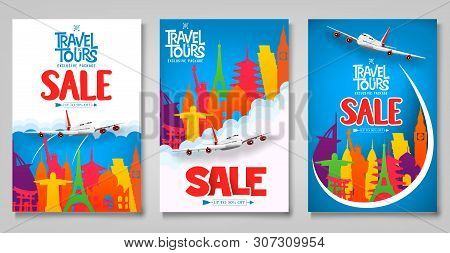Travel And Tours Sale Promotional Posters Template Set With Colorful World Famous Landmark Icons For