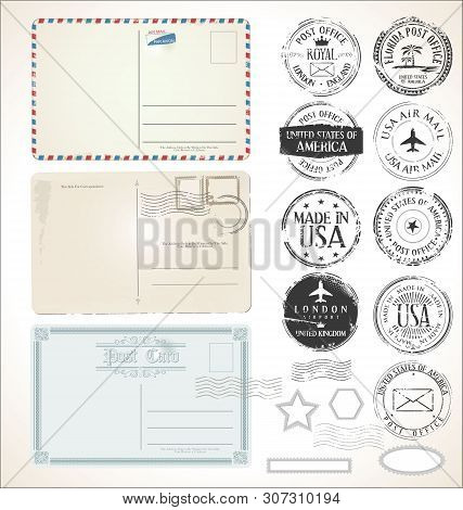 Set Of Postal Stamps And Post Cards On White Background Mail Post Office Air Mail.eps