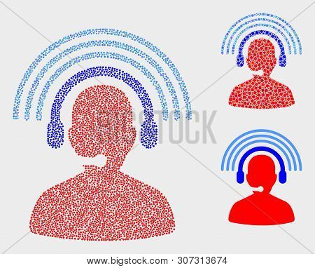 Dot And Mosaic Radio Operator Icons. Vector Icon Of Radio Operator Combined Of Scattered Round Dots.