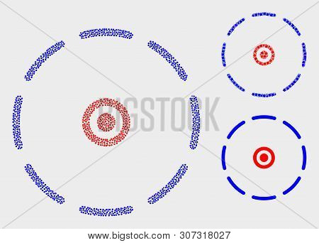 Pixelated And Mosaic Round Perimeter Icons. Vector Icon Of Round Perimeter Composed Of Irregular Cir