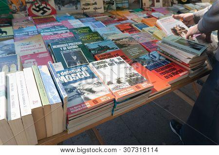Madrid, Spain - November 12,2017 : Books For Sale  In Retiro Park  Madrid, Spain.