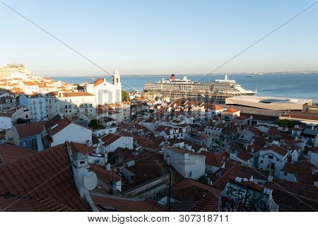 Lisbon, Portugal - November 13,2017 : City View From A Hill In The Alfama Neighborhood In Lisbon, Po