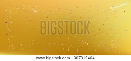Net Space And Signs Confetti. Colorful Colorific Illustration. Background Colorful. Wonderful Colore