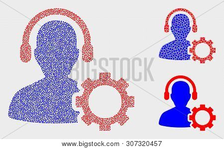 Pixelated And Mosaic Service Call Center Icons. Vector Icon Of Service Call Center Organized Of Rand