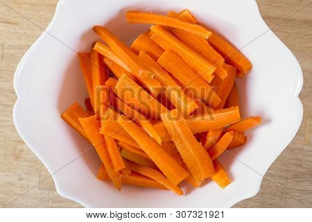 Carrot On Plate Preparated For Cooking