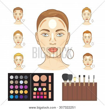 Vector Infographic Of Woman Faces Highlighting Makeup Trend - Strobing. Faces With Different Highlig