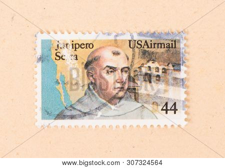 United States - Circa 1970: A Stamp Printed In The Usa Shows An Image Of Junipero Serra, Circa 1970