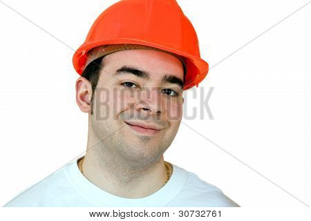 Construction Worker With Clipping Path
