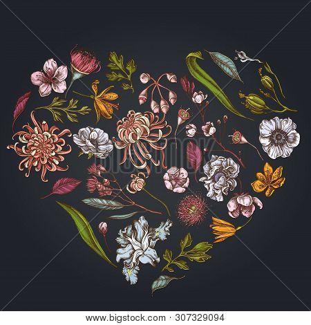 Heart Floral Design On Dark Background With Japanese Chrysanthemum, Blackberry Lily, Eucalyptus Flow
