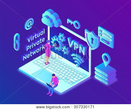 Vpn. Virtual Private Network. Data Encryption, Ip Substitute. Secure Vpn Connection Concept. Cyber S