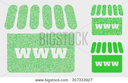 Dotted And Mosaic Webshop Icons. Vector Icon Of Webshop Formed With Randomized Spheric Dots. Other P