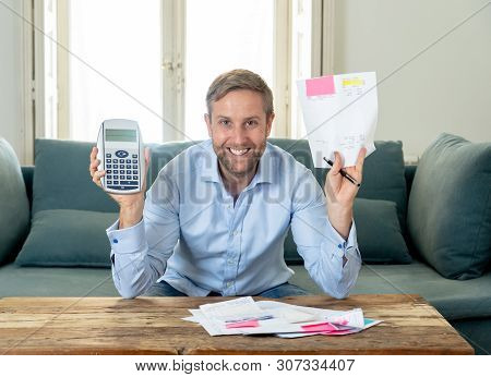 Attractive Successful Entrepreneur Young Man Accounting Business Finance Feeling Happy Free Of Debts