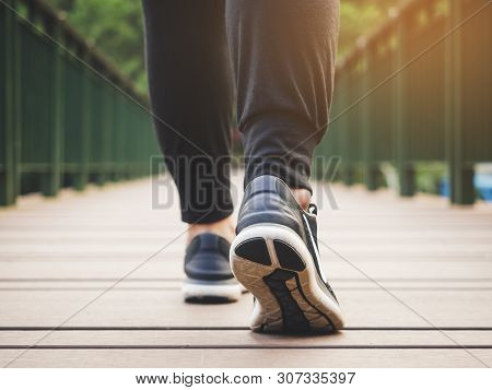 Walking Step Woman Legs With Sport Shoe Outdoor Exercise Healthy Lifestyle