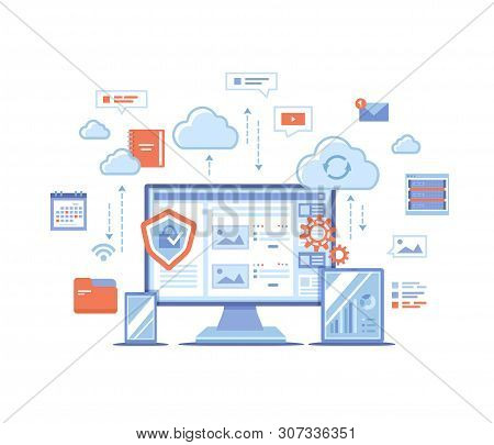 Cloud Storage. Online Cloud Computing, Network Hosting, Services. Computer, Phone, Tablet, Server, P