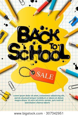 Back To School Sale Poster And Banner With Colorful Pencils And Elements For Retail Marketing Promot