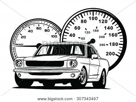 Retro Muscle Car Illustration. Vintage Poster Of Reto Car. Old Mobile Isolated On White.