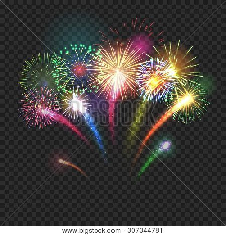 Bursting Fireworks Festive Background With Brightly Shining Sparks. Realistic Fireworks Explosions V