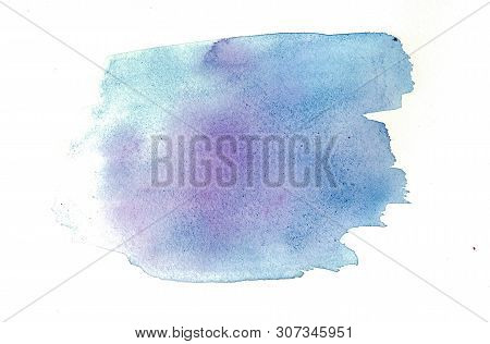 Watercolor Banner With Watercolour Blue Splash On Soft Light Background For Wallpaper Design. Soft C