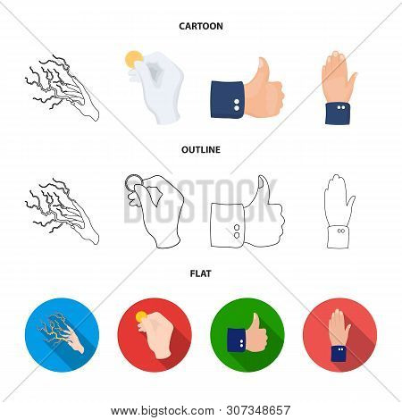 Vector Design Of Animated And Thumb Sign. Collection Of Animated And Gesture Vector Icon For Stock.