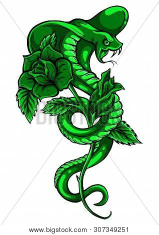 Tattoo With Rose And Snake. Traditional Black Dot Style Ink. Roses Isolated Vector Illustration. Tra