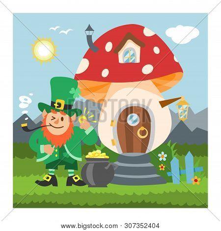 Fantasy Gnome Mushroom House Vector Cartoon Fairy Treehouse And Magic Housing Village Illustration S