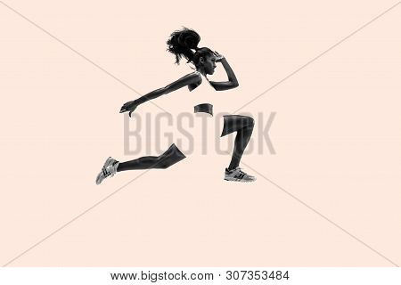 Young African Woman Running. Creative Collage. One Female Runner Or Jogger. Silhouette Of Jogging At