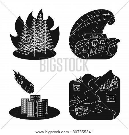 Vector Illustration Of Calamity And Crash Logo. Set Of Calamity And Disaster Stock Vector Illustrati