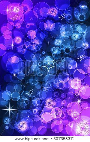 Purple Defocused Bokeh Pattern Wallpaper. Abstract Blurred Background.