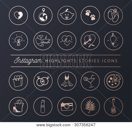 Social Networks Icons Set For Stories Highlights In Chic Style. Blogger Lifestyle Icon Collection. V