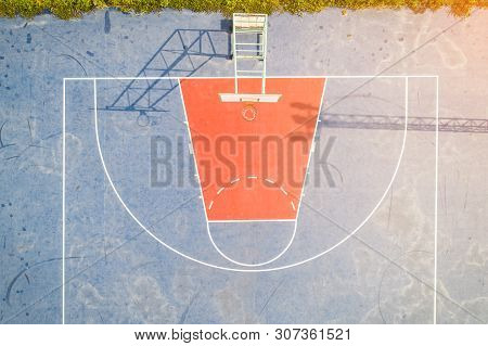 Aerial View, Top View, Bird Eye View Of School College With Basketball Courts. Basketball Field In M