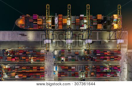 Aerial View Sea Port Container Cargo Loading Ship In Import Export Business Logistic. Freight Transp