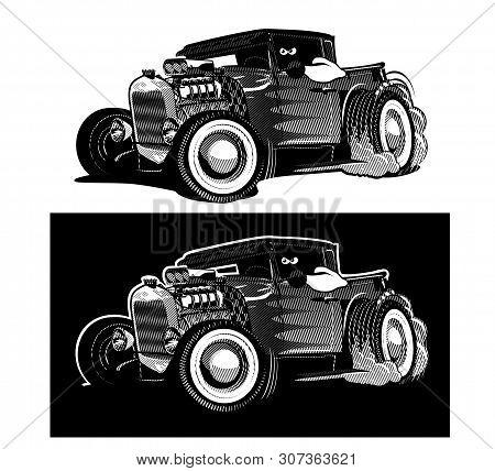 Cartoon Retro Hot Rod Isolated Black And White