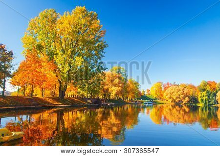 Autumn Park Nature. Colorful Trees And Lake In Park. Fall Scene. Beautiful Clear Autumn Day. Reflect