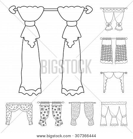 Isolated Object Of Fabric And Decoration Icon. Set Of Fabric And Cornice Vector Icon For Stock.