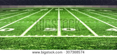 Football Stadium With White Lines Marking The Pitch. Perspective Of Football Field. Perspective Elem