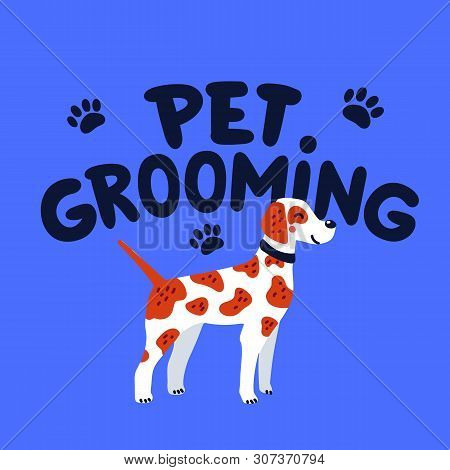 Pet Grooming Concept. Pet Grooming Lettering And Pointer Dog. Dog Care, Goods For Bathing, Grooming,