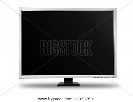 Big computer LCD monitor. Isolated over white background.