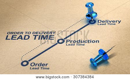 Order To Delivery Lead Time Diagram Over Paper Background With Blue Thumbtacks. Supply Chain Managem