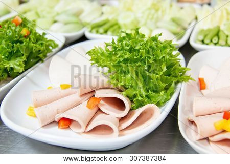 A Cold Cut Green Vegetables On Plate