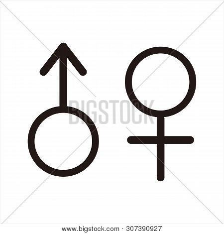 Male And Female Icon Isolated On White Background, Male And Female Gender Vector Icon. Man And Woman