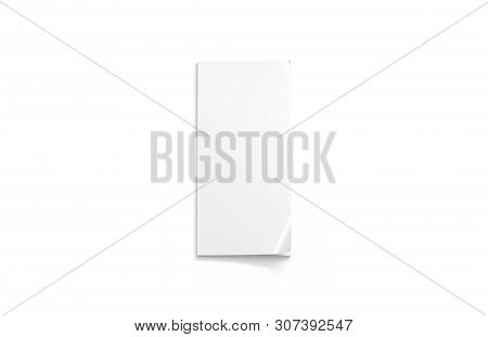 Blank White Narrow Close Magazine Mockup, A6 Top View, 3d Rendering, Isolated. Clean Paperback Flyer