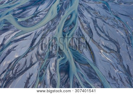 River bed shot from aerial view, Iceland. Looks like abstract painting wallpaper