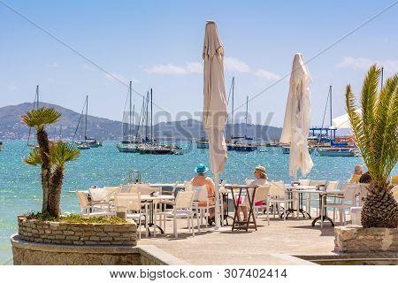 Mallorca, Spain - May 6, 2019: Seaside Restaurant In Port De Pollenca (puerto Pollensa) Of Mallorca.