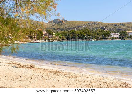 Sandy Beach In Port De Pollenca (puerto Pollensa), A Popular Family Resort In The North-west Of Mall