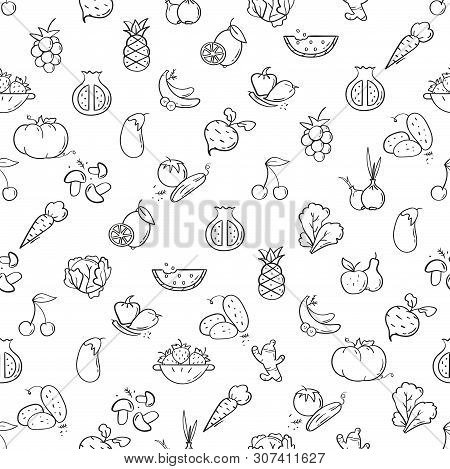 Line Style Fruit And Vegetables Pattern. Doodle Seamless Background. The Modern And Light Pattern Is