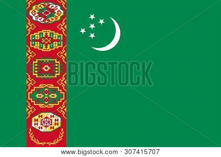Flag Of Turkmenistan. Sovereign State Flag Of Turkmenistan