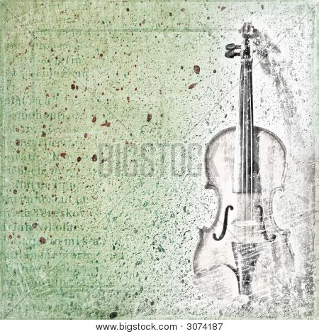 Abstract background with the sketch of an old violin poster